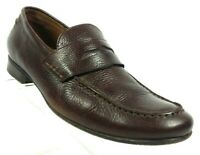 J Artola Men's Size 11 M Brown Pebbled Leather Penny Loafers Casual Shoes #F12