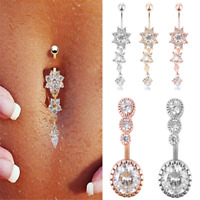 Navel Belly Button Rings Crystal Dangle Bar Charm Women Body Piercing Jewelry