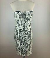 Karen Millen Womens Cream Black Lace Knee Length Sleeveless Strapless Dress A1