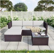 More details for rattan garden furniture corner sofa wicker weave 5pcs set loungers & glass table