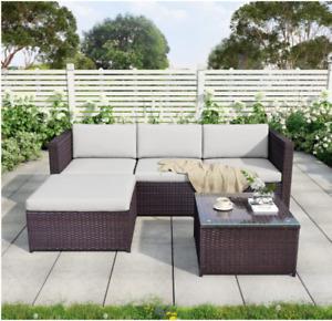 Rattan Garden Furniture Corner Sofa Wicker Weave 5pcs Set Loungers & Glass Table