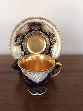 Black Knight COBALT BLUE Footed Demitasse Cup & Saucer Set # 505