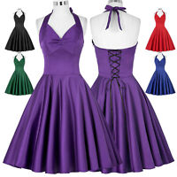 New Womens 50s Swing Pin Up Vintage Tea Dresses Casual Halter Evening Party Ball