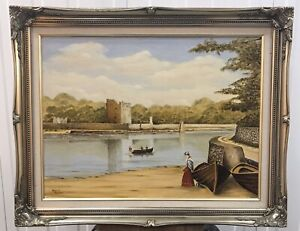 Original Irish Art Oil On Board Painting Narrow Water Castle By Maurice Taggart