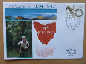 2004 ALPHA BI-CENT TASMANIA FLY FISHING ALPHA FIRST DAY COVER FDC
