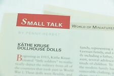 2 Page Article Kathe Kruse 1920 Dollhouse Dolls - May 2005 Doll Reader Magazine