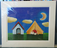 Steve Bowden, Sleepover - Signed Mounted Camping/Tent/Dog Limited Edition