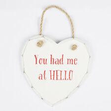 You Had Me at Hello Wooden Heart Plaque - Sign Valentines Shabby Chic Hanger