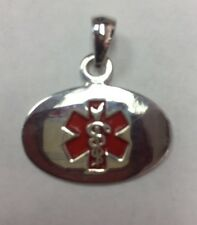 Personalized Sterling Silver Medical ID Alert Oval Shape Pendant 4.1gr