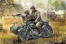 Zvezda 1/35 M-72 Motorcycle with Sidecar and Crew #3639 *Sealed*New*