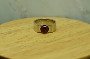 925 STERLING SILVER ROUND RED GARNET SOLITAIRE RING BAND SIZE 5.25 #A4899