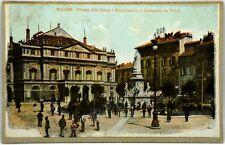 Cartolina Formato Piccolo - Milano - Piazza Della Scala - Monumento A Leonardo D