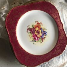 "Royal Worcester Cabinet Plate 8.5 "" Flower Square Plate Signed Freeman"
