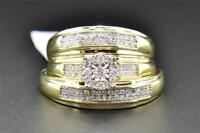 Diamond Trio Set His Hers Matching Engagement Ring Wedding Band 10K Yellow Gold