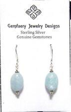 Sterling Silver Natural AQUAMARINE Gemstone Dangle Earrings #5752...Handmade USA