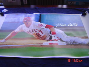 LA ANGELS MICHAEL NELSON TROUT MIKE TROUT signed 24x44 CANVAS MLB AUTHENTICATED2