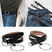 Women Lady Vintage Metal Leather Geometry Buckle Jeans Waist Belt Waistb_BB