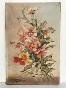 Ancien Tableau / Huile sur toile signée GODARD 1896 . bouquet de fleurs