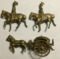 Simon & Rivollet SR France Metal Horse & Cart with Two Soldiers on Horses