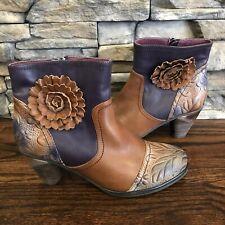 L'Artiste by Spring Step Neske Flower Ankle Bootie Boots Size 7.5-8, EU 38