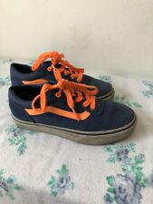 Vans Junior Boys Navy And Orange Plimsole Trainers Size UK 13
