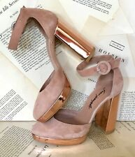 Free People Platform Shoes Rose Gold Metallic Nude Pink Suede Shoes 36/5-5.5 NEW