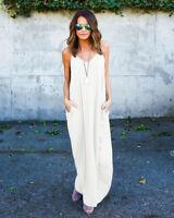 Women Boho Maxi Long Summer Beach Sundress Casual Sleeveless Kaftan Hippie Dress