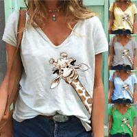 Women Summer V-Neck Short Sleeve Solid Giraffe Print T-Shirt Casual Loose Tops