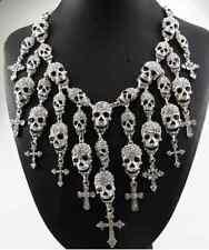 Skeleton Skull Choker Pendant Necklace Goth Punk Cross Vintage Statement Rock