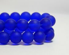 26 8mm Cobalt Blue Sea Glass Beads Round Royal Purple Frosted Matte Beach D-E38