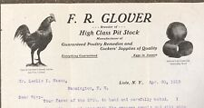 Cockfighting Cocks Glover Lisle NY 1915 Letter