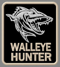 """WALLEYE HUNTER EMBROIDERED PATCH ~3-1/4"""" x 2-7/8"""" BRODÉ MUOKKAA BRODERAD FISHING"""