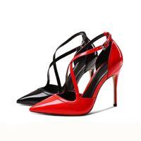 Gr.33-45 Damen Spitz Lackleder Elegant Schwarz Business High Heels Riemchenpumps