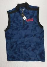 New Mens Adidas Climastorm USA Golf 1/4 Zip Up Pullover Vest Mineral Blue Size S