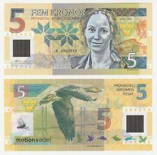 Sweden 5 Kroner 2017 UNC SPECIMEN Polymer Test Note Gabris Banknote