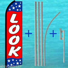 Look Swooper Flag +15' Tall Pole + Mount Kit Flutter Feather Banner Sign 25-1992
