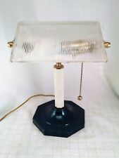 Vintage Bankers Desk lamp Clear Ribbed Shade Pull Chain led 9.5w Bulb Green Base