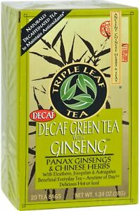 Decaf Green Tea with Ginseng & Chinese Herbs by Triple Leaf, 20 tea bag