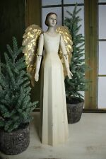 Schöner Vintage Shabby Meander Engel Handarbeit Handbemalt Antikweiß 48 cm NEU