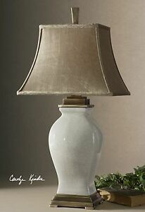 NEW AGED IVORY CRACKLE GLAZE OVER PORCELAIN TABLE LAMP COFFEE BRONZE DETAILS