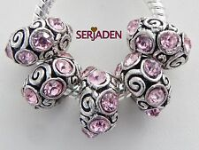5 Pink Stone Spacer Bead Fit European Style Charm Jewelry 7 * 13 & 5mm Hole R173