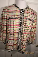 St. John Collection by Marie Gray plaid jacket, 12, fringe detail, no collar