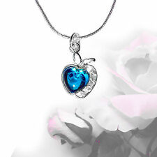 Apple Women's Necklace Luck Rhinestone Jewelry Silver Colored Woman 45 cm