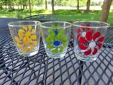 3 VTG Hazel Atlas Half Pint Sour Cream Jar Tumbler Red Green Yellow Pinwheels