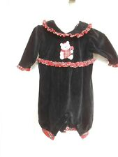 BRIGHT FUTURE BLACK VELOUR INFANT GIRLS OUTFIT SIZE 0-3 MONTHS LONG SLEEVES