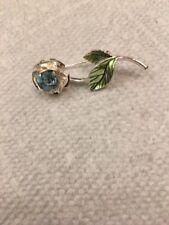 """Avon Aqua Blue Rhinestone Flower Silver Tone Brooch Pin 1.5"""""""