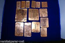 14 x AE Merkenthaler Monogramme, Kupfer Schablonen, Stencils, Patrons broder