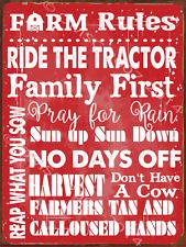 Farm Rules Metal Sign, Humor, Rustic Decor, Country Decor