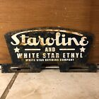 Vintage Staroline And White Star Ethyl Metal License Plate Topper Refining Sign