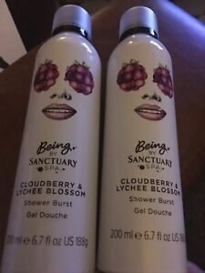 2 X BEING BY SANCTUARY SPA CLOUDBERRY AND LYCHEE BLOSSOM SHOWER BURST FOAM